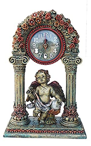 Antique Effect Baroque Style Cherub and Roses Wall Clock Bronze