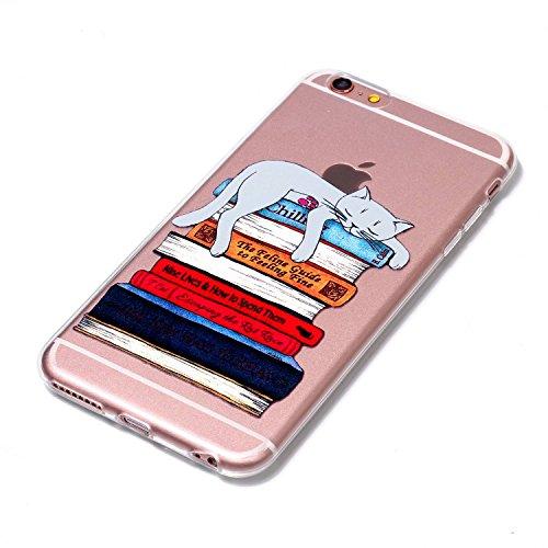 Coque iphone 7 Plus, Meet de Coque Gel TPU Silicone Dessinez motif Housse Etui Protection Full Silicone Souple Ultra Mince Fine Slim, TPU avec Absorption de Choc, Etui Silicone Transparente, Très Légè Livres de chat
