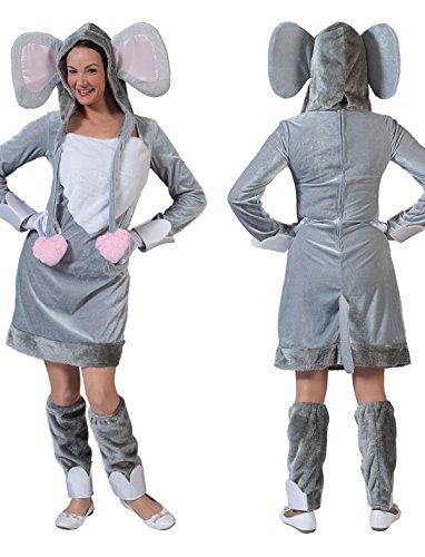 Kostüm Kleid Elefantendame Elif Größe 36/38 Damen Tierkostüm Wilde Tiere Safari Zoo Afrika Karneval Fasching (Kostüm Safari Themen)