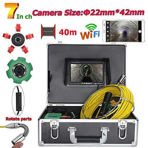 Jackeylove Leitungsinspektionsvideokamera 7inch 22mm WiFi Wireless DVR, 40M IP68 Waterproof 1000 TVL Kamera-System mit 6W LED-Lichtern -