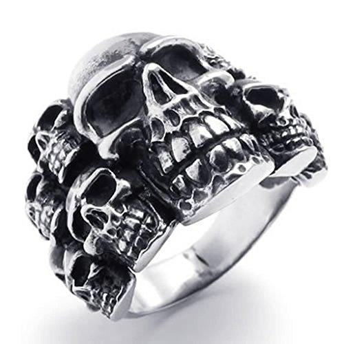 Adisaer Herren Ring Edelstahl Cluster Schädel Ringe Silber Schwarz Für Männer Ring Größe 60 (19.1) (Herr Der Ringe Kostüm Ringgeister Der)