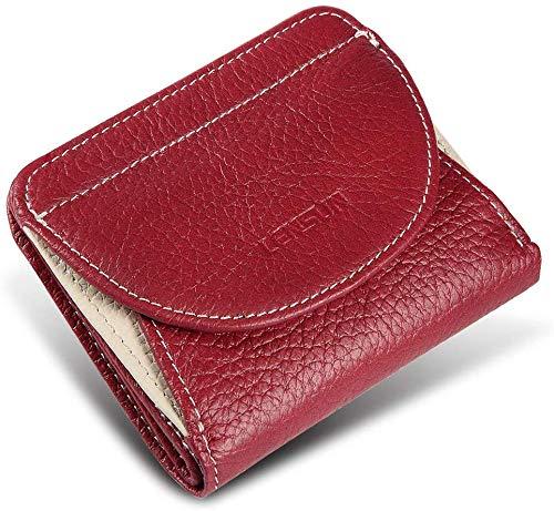 Portafoglio donna piccolo vera pelle lensun, sottile portamonete vera pelle da donna con chiusure a scatto, fessure per carte, confezione regalo - vino rosso (ls-hb-wr)