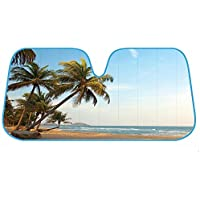 Palm Tree Tropical Island Sunset Auto Sun Shade for Car SUV Truck - Bubble Foil Folding Accordion for Windshield by BDK