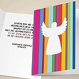 100er Set Schicke Unternehmen Weihnachtskarten mit Engel auf modernen Streifen, mit ihrem Innentext (Var1) drucken lassen, als Firmen Weihnachtsgruß für Kunden, Geschäftspartner, Mitarbeiter