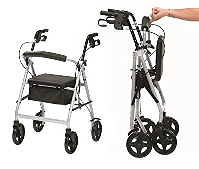 Ultra lightweight folding rollator wheeled walking frame with brakes, seat and bag