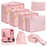 Eono Essentials 7-Pcs Lightweight Luggage Packing Organizers Packing Cubes for Travel Accessories Stripe
