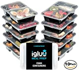 [10 pack] 2 Compartment BPA Free Reusable Meal Prep Containers   Plastic Food Storage Trays with Airtight Lids   Microwavable, Freezer & Dishwasher Safe   Stackable Bento Lunch Box Sets   Bonus eBook