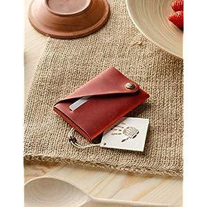 Minimalistischer Brieftasche/Kartenhalter aus Leder | Fragola Red, Crazy Horse Leder Geldbörse/Kartenhalter, Schlankes…