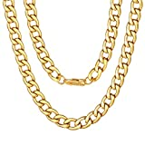 18k Gold Plated Miami Cuban Link Chain Men's Jewelry Set Stainless SteelHip-pop Style Length 46/51/56/61/66/71/76cm 925 Chain