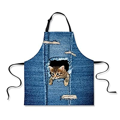 HUGS IDEA Novelty Cute Cat Dog Print Kitchen Cooking Aprons Blue