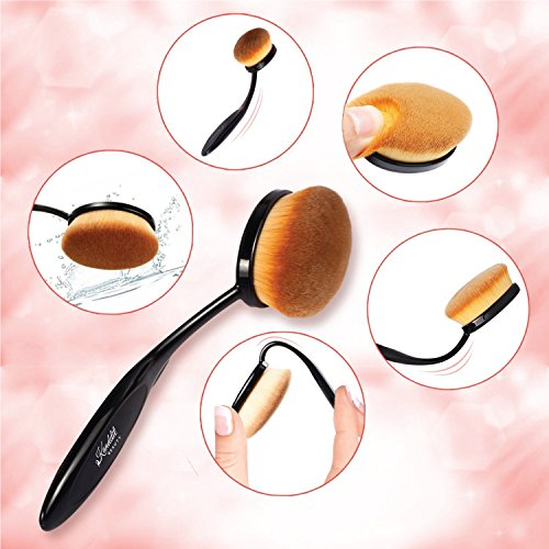 Kanddit 4Pcs/Set Makeup Toothbrush Shape Oval Makeup Brushes Set Foundation Contour Powder Eyebrow Blush Eyeshadow Brush Set