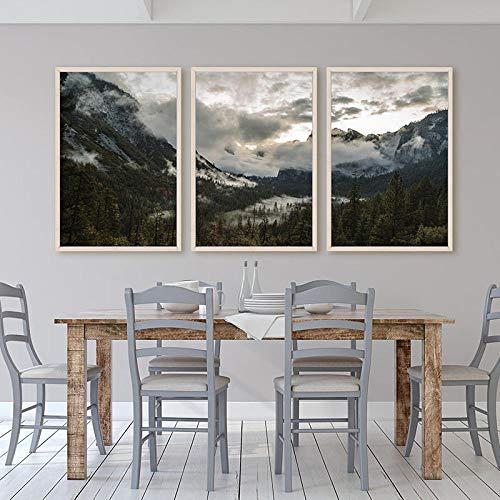 qiumeixia1 Herrliche Poster Yosemite National Park Leinwand Kunst Wald HD Druck Wandbilder Landschaftsmalerei Nordic Dekoration Bilder 50 * 70 cm Kein Rahmen