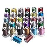 Simthreads 32 Fahne Mehrfarbig Metallic-Stickgarn - 500 Meter, für Brother/Babylock / Janome/Kenmore / Singer Stickereimaschine