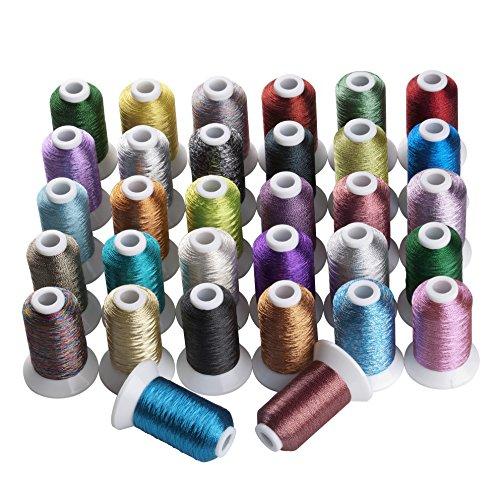 Simthread 32 Fahne Mehrfarbig Metallic-Stickgarn - 500 Meter, für Brother/Babylock/Janome/Kenmore/Singer Stickereimaschine