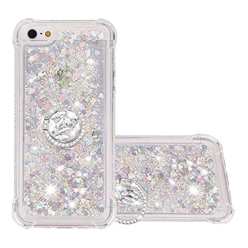 FAWUMAN Hülle für iPhone 5 / iPhone 5s / iPhone SE Diamant Ring Flüssig Herzform Treibsand Silikon TPU Bumper Hülle für iPhone 5 / iPhone 5s / iPhone SE