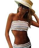 ASSKDAN Damen Elegant Bandeau Bikini Sets Gepolstert Badeanzug Bademode