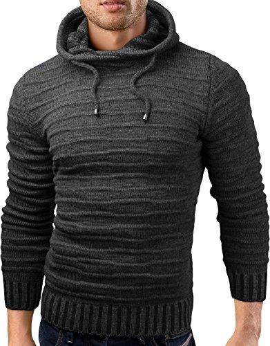 Grin&Bear slim fit Pullover Strick Hoodie Sweatshirt Herren, anthrazit, L, GEC340