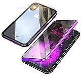 Jonwelsy - Carcasa para iPhone XS/X, tecnología de absorción magnética, Bumper de Metal, 360 Grados Delantera y Trasera, Cristal Templado Transparente para iPhone XS/X (5,8 Pulgadas) Viola/Nero