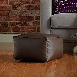 Bean Bag Bazaar Square Faux Leather Pouffe - Foot Stool Bean Bags (Brown)