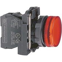 Schneider Electric XB5AVM4 Piloto Luminoso Redondo, Con Lente Lisa LED Integral, Rojo, 22mm Diámetro de Montaje, 230-240 V AC, 50/60 Hz