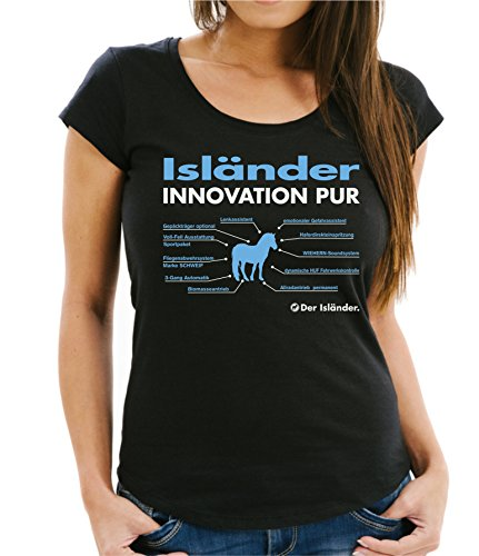 Siviwonder WOMEN T-Shirt INNOVATION - ISLÄNDER Pferd - Pferde Fun reiten Schwarz