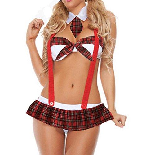 Damen Lingerie Unterwäsche Unterwäsche Plus Size Uniformen Versuchung Unterwäsche (Red, 3XL) (Plus Neckholder-bhs Size)