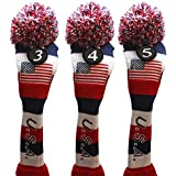 USA Majek Golf 3 4 5 Hybrid Set Headcovers Pom Pom Knit Limited Edition Vintage Classic Traditional Flag Stars Red White Blue Stripes Retro Head Cover 3-5 Set