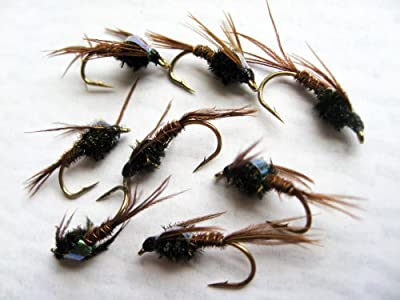 Fly Fishing PHEASANT TAIL NYMPHS Flashback Set sizes 10-14 Eight flies PACK#1 from BestCity Tackle
