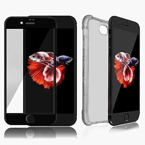 Custodia iPhone 7Plus Chiaro Nero & Protezione Schermo Nero SWISS-QA Migliore Cover Invisibile per Apple Phone di Alta Qualità Antiscivolo Ergonomica con Nuova Tecnologia Bumper per Evitare la Rottura
