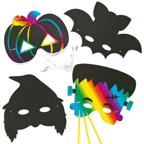 Kratzbild Masken Halloween für Kinder zum Verzieren und Spielen (6 (Masken Halloween Uk)