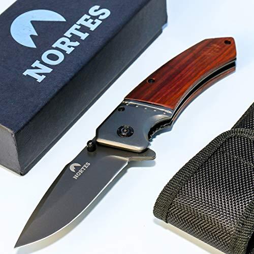 nortes {MK1} scharfes Survivalmesser mit Holzgriff - hochwertiges Einhand-Klappmesser aus rostfreiem Edelstahl mit Gürtelclip und Nylontasche - perfekt für Outdoor, Wandern und Camping