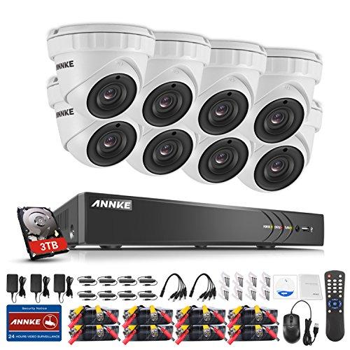 ANNKE Überwachungskamera Set, 8CH 3MP DVR Recorder mit 4TB Festplatte + 8 x 3 Megapixel Dome Kameras Videoüberwachung System,Smart Search/Playback/Infrarot LED Array für Innen und Außen