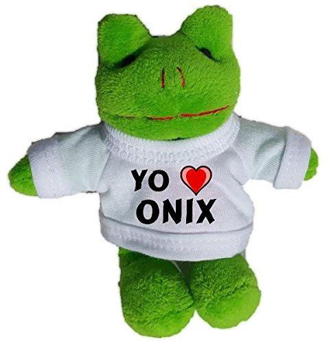Rana de peluche (llavero) con Amo Onix en la camiseta (nombre de pila/apellido/apodo)