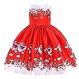 Riou Weihnachten Baby Kleidung Set Kinder Pullover Pyjama Outfits Set Familie Kleinkind Kinder Baby Mädchen Santa Print Prinzessin Kleid Partykleid Weihnachten (120, Rot D)