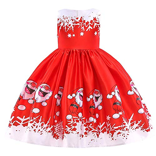(Riou Weihnachten Baby Kleidung Set Kinder Pullover Pyjama Outfits Set Familie Kleinkind Kinder Baby Mädchen Santa Print Prinzessin Kleid Partykleid Weihnachten (120, Rot D))