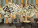 LONGYUCHEN Benutzerdefinierte 3D Seidenwandbild Holzmaserung Muster Farbe Holzbrett Englisch Geeignet Für Wohnzimmer Bar Cafe Nachtclub Ktv Wand Dekoration,260Cm(H)×420Cm(W)