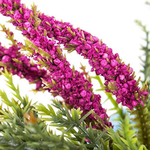 artplants Set 12 x Künstliche Erika Almina auf Steckstab, pink, 20 cm, Ø 20 cm – 12 Stück Kunstblume/Kunstpflanzen Heidekraut