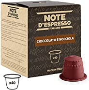 Note d'Espresso Hazelnut Chocolate Capsules 7g x 40 Capsules Exclusively Compatible with Nespresso* machines