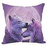 Funda de almohada cuadrada personalizada amor de lobo diseño de algodón ropa cojín...
