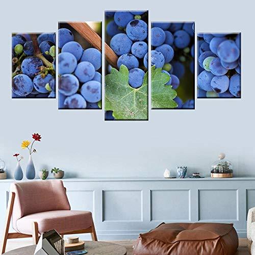 Liuuroc 5 pannello di arte della parete viola uva immagine tela pittura soggiorno poster pittura modulare arte murale decorazione murale salotto appartamento stampe artistiche quadro stampa tel