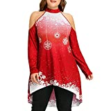 IZHH Damen Weihnachten Tops, Mode Frauen Langarm Frohe Weihnachten Plue Größe Kalte Schulter Schneeflocke Druck Trägerlose Lange Top Bluse(Rot,XXX-Large)