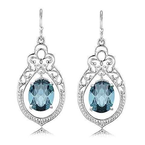 Aurora Tears Vintage Swirl Filigree Flower London Blue Topaz Earrings