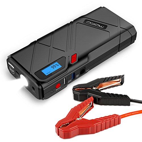 MoKo 1200A Spitzenauto-Sprungs-Starter, 12000mAh beweglicher Energie-Bank-Batterie-Verstärker (bis zu 6.5L Gas, 5.2L Dieselmotor), mit 2 USB-Häfen, QC3.0 Schnellaufladung Not-LED Taschenlampe - Rot