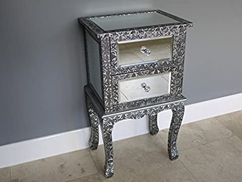 French Vintage Style Silver Embossed Mirrored Glass Two Drawer Bedside