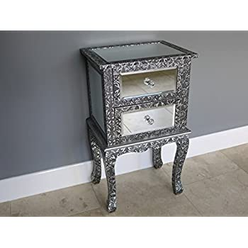 French Vintage Style Silver Embossed Mirrored Glass Two Drawer Bedside Table Lamp Table