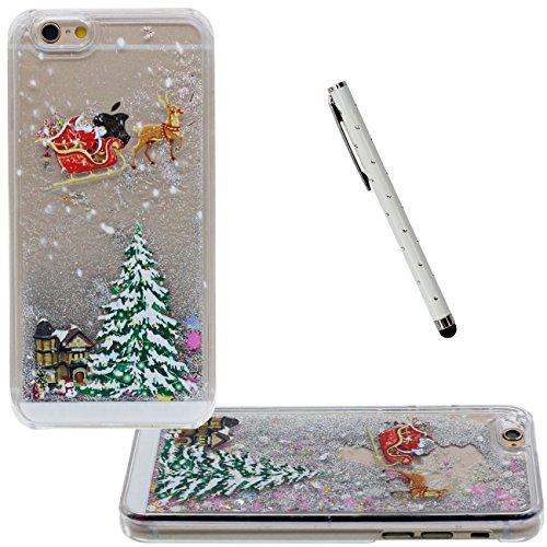 iPhone 6S Plus Flüssigkeit Wasser Hülle, Transparent Hart Cover mit Fließend Glitzerpulver Sterne Entwurf für Apple iPhone 6 Plus 6S Plus Plus 5.5 inch Weihnachten Stil Muster Case Mit 1 Stylus-Stift grau