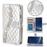 Numerva LG G3S Hülle, Strass Schutzhülle [Bling Case, Standfunktion, Kartenfach] PU Leder Tasche für LG G3S Beat Handytasche Cover [Silber]