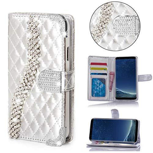 numerva LG G2 Hülle, Strass Schutzhülle [Bling Case, Standfunktion, Kartenfach] PU Leder Tasche für LG G2 Handytasche Cover [Silber]