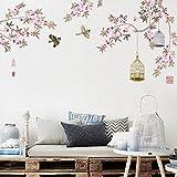 GOUZI Das Peach Blossom chinesischen Sofa tv Hintergrund Schrankbett warmen Pfirsich große selbstklebende Wandaufkleber abnehmbare Wall Sticker für Schlafzimmer Wohnzimmer Hintergrund Wand Bad Studie Friseur