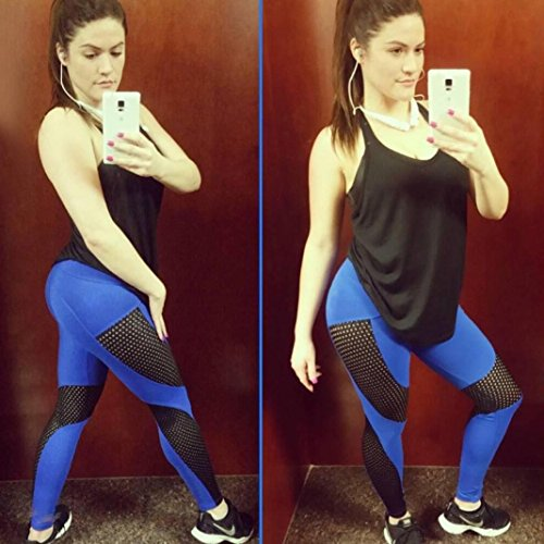 ❤️DoraMe❤️Pantaloni da yoga donna Yoga Sport Pants fitness Tuta donna leggings donna - Pantaloni sportivi da donna Mesh Push Up Yoga Pants - Spring Blu